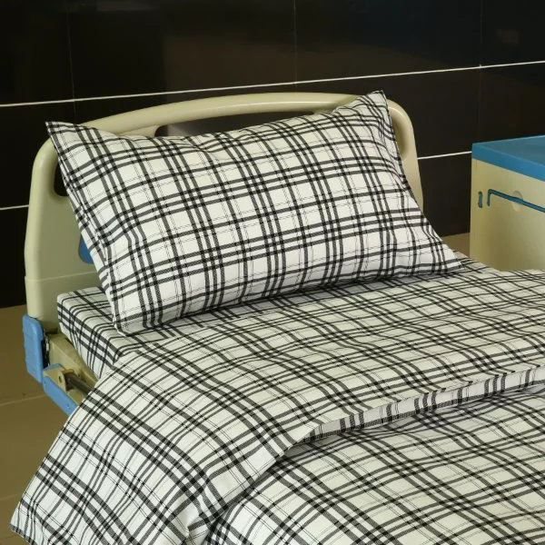 Factory Price Hospital Bedding - F7 Cotton Hospital Bed Linen Green-white Check – LONGWAY