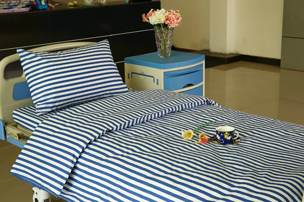 New Fashion Design for Ly Hospital Cubicle Curtain - L2 Cotton Hospital Bed Linen Blue White stripes – LONGWAY
