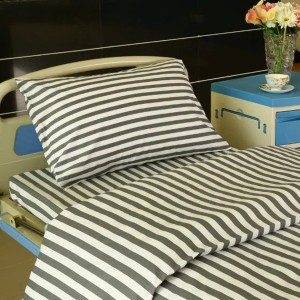 F6 Cotton Hospital Bed Linen Gray White 2cm Stripes
