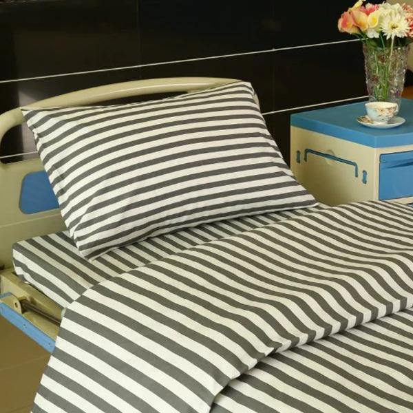 F6 कापूस रुग्णालयात बेड तागाचे ग्रे व्हाइट, 2cm पट्टे वैशिष्ट्यीकृत प्रतिमा
