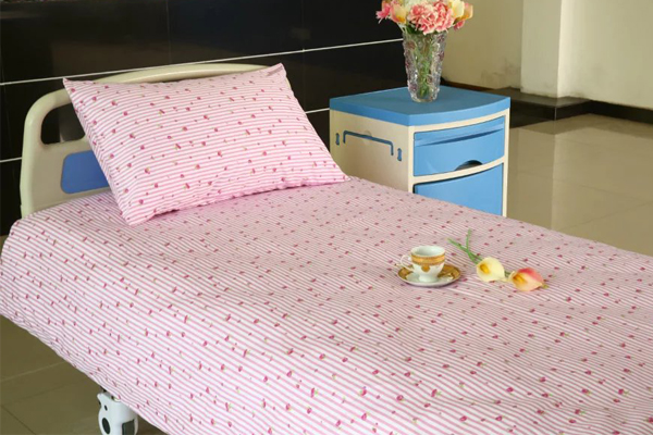 pink stripe hospital bed sheet