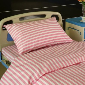 L4 Polyester Cotton Hospital Bed Linen Pink Stripes