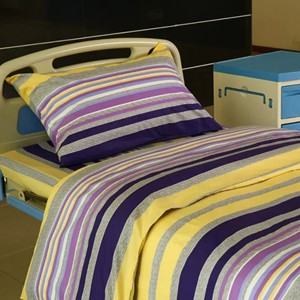 Y20 Cotton Hospital Bed Linen Purple Yellow Stripes