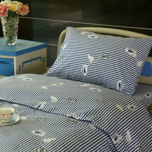 Y9 Cotton Hospital Bed lino Blue-puti nga Stripe
