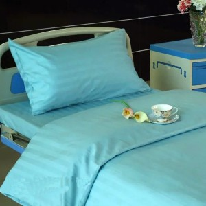 K11 CVC Satin Stripe Light Green Hospital Bed Linen