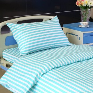 L3 Poly Cotton T65C35 Hospital Bed Linen Green White Stripe