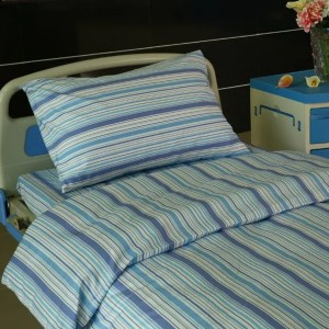 L9 Cotton Hospital Bed Linen blue stripes