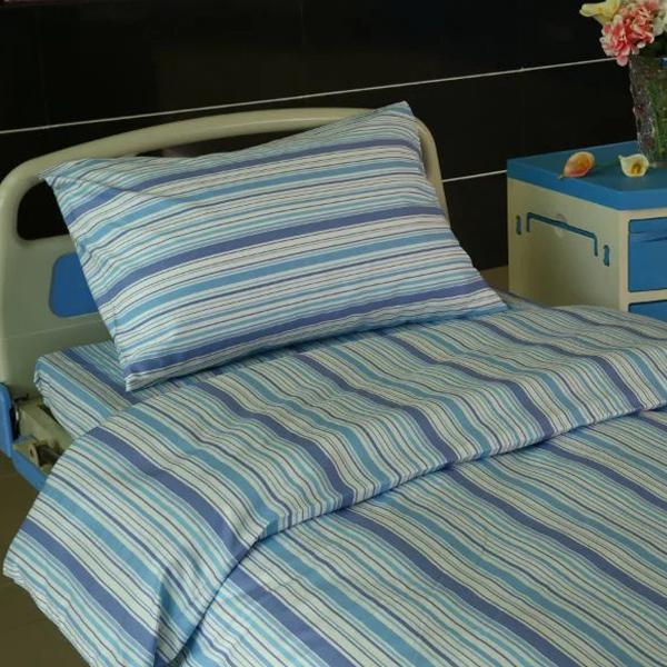 OEM/ODM Supplier Hotel Room Drapery - L9 Cotton Hospital Bed Linen blue stripes – LONGWAY