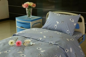 Y9 Cotton Hospital Bed lino Blue-puti nga Stripe