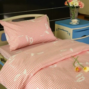 Y11 Poly Cotton Hospital Bed Linen Pink Stripe with Flower