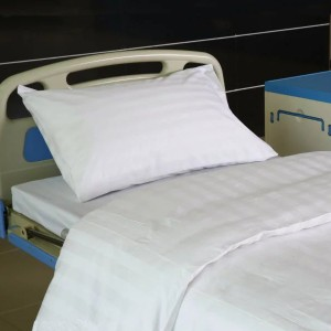 Y15 Cotton Satin Stripe Bleached White Hospital Bed Linen