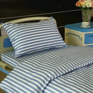 L2 Cotton Hospital Bed Linen Blue White stripes