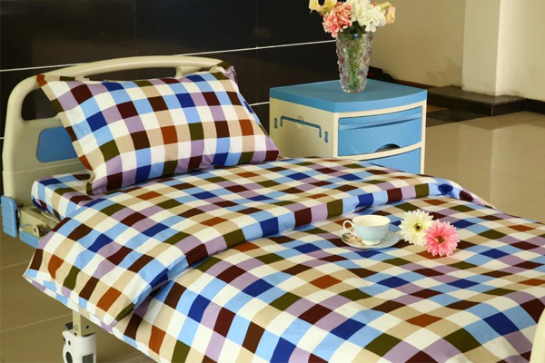 G13 six color checked cotton hospital bed linen