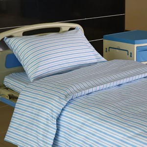 Y17 Cotton Hospital Bed Linen Blue Slim Stripes