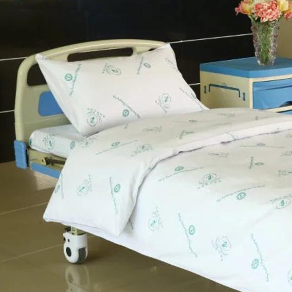 Popular Design for Permanent Flame Retardant - Hospital Bed Linen Cotton with Hospital Logo – LONGWAY
